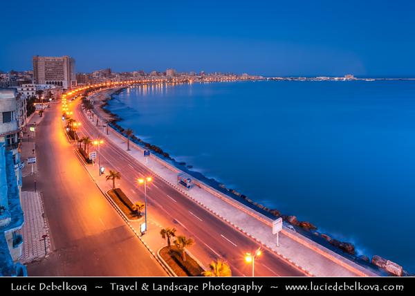 Egypt - Alexandria - الإسكندرية - al-Iskandariyya - Αλεξάνδρεια - Ancient Town on Shores of Mediterranean Sea - Cityscape along the Corniche with town seafront  - Dusk - Twilight - Blue Hour - Night