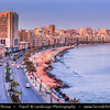 Egypt - Alexandria - الإسكندرية - al-Iskandariyya - Αλεξάνδρεια - Ancient Town on Shores of Mediterranean Sea - Cityscape along the Corniche with town seafront