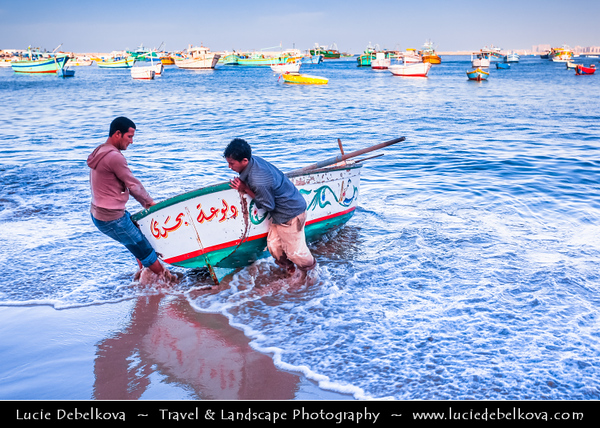 Egypt - Alexandria - Al-Iskandariyya - Αλεξάνδρεια - Ancient City on Shores of Mediterranean Sea - Fisherman Boats on the Beach