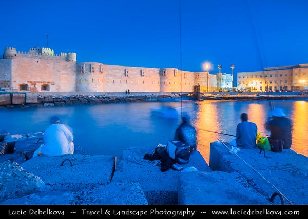 Egypt - Alexandria - al-Iskandariyya - Αλεξάνδρεια - Ancient City on Shores of Mediterranean Sea - Seafront near Fort Qaitbey - The Citadel of Qaitbey (Qaytbey, Quait-bey)