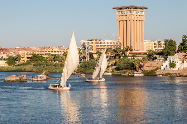 Fellucas on the Nile in Aswan
