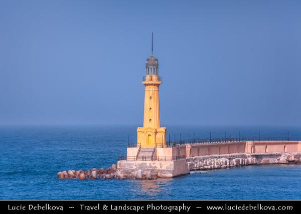 Egypt - Alexandria - الإسكندرية - al-Iskandariyya - Αλεξάνδρεια - Ancient City on Shores of Mediterranean Sea - Morning light on the Lighthouse