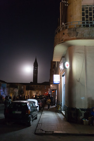 Night on the streets of Asmara in Eritrea.