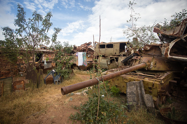 Rusting vehicles in the Tank Graveyard on the outskirts of the city of Asmara in Eritrea.