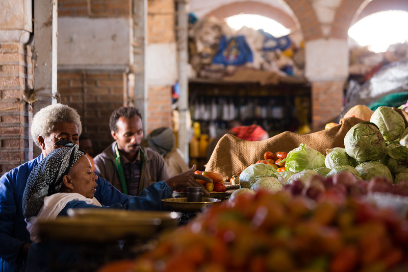 Shopping for vegetables at the weekly market in Asmara, Eritrea.