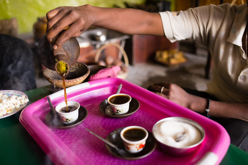 Pouring coffee in a traditional coffee ceremony in the town of Keren in northern Eritrea.