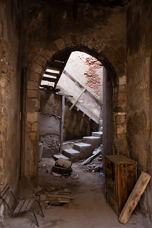 A staircase among the ruins of the town of Massawa on the Red Sea coast of eastern Eritrea.