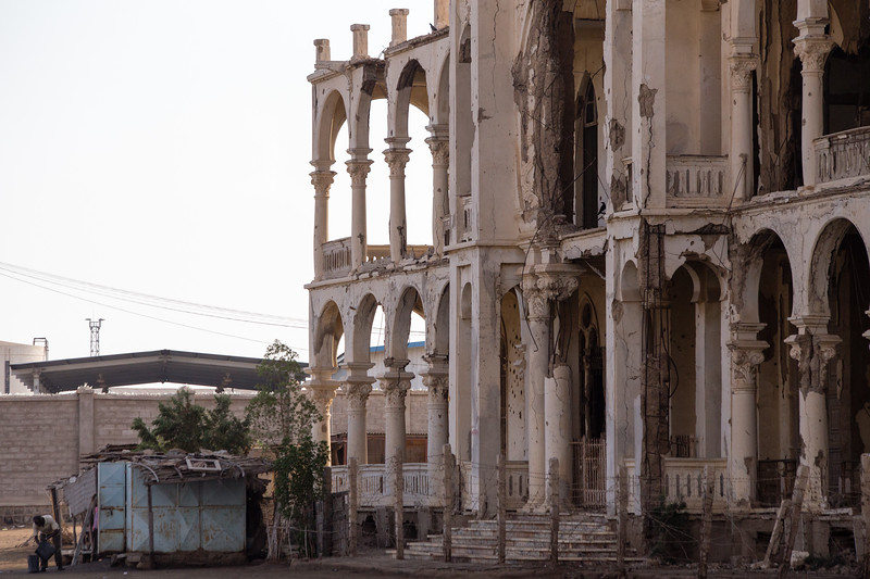 A security guard among the ruins of the town of Massawa on the Red Sea coast of eastern Eritrea.