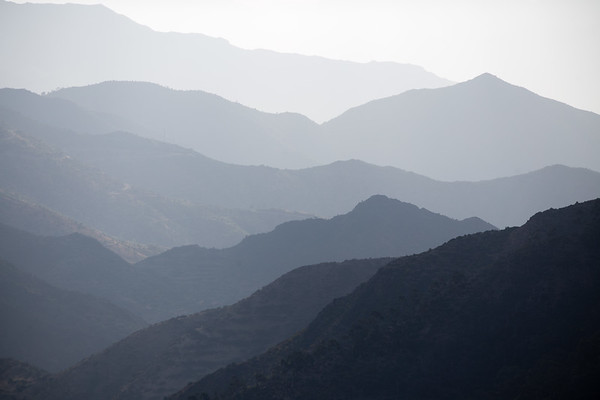 Layered mountains on the highway between Asmara and Massawa in eastern Eritrea.
