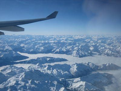 Flying over the Swiss alps (London -> Zurich -> Nairobi)