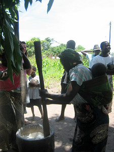 The women take turns to pound cassava into flour