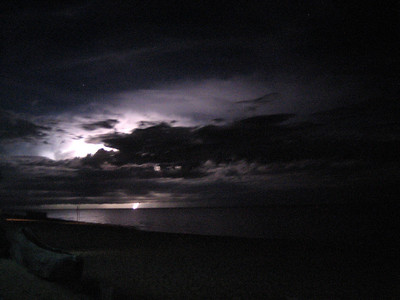 We experienced several tropical lightening storms while staying at Kande beach - here we managed to capture a bolt of lightening in the distance.