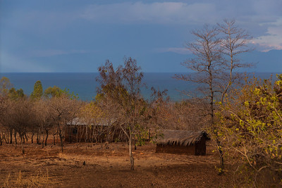 Lake Malawi A couple of rural huts in a village on Lake Malawi.