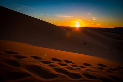 Sunrise over the sand dunes.