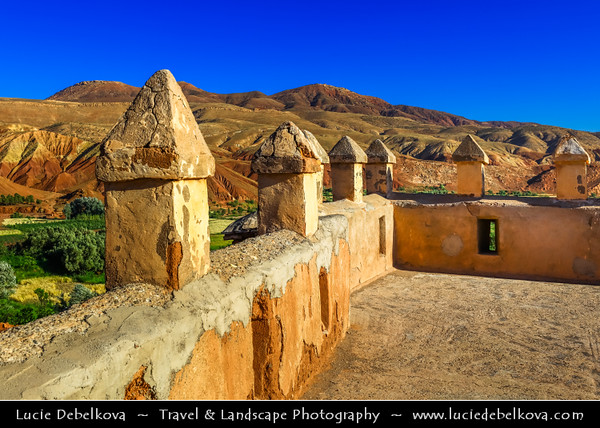 Northern Africa - Kingdom of Morocco - High Atlas Mountains - Telouet - Telouet Kasbah - Kasbah du Pacha el Glaoui along former caravan route from Sahara over Atlas Mountains to Marrakech at elevation of 1,800 metres (5,900 ft)