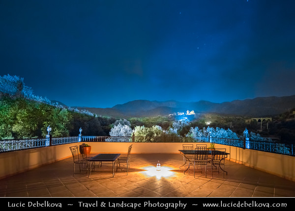 Northern Africa - Kingdom of Morocco - High Atlas Mountains - Traditional accomodation at Dusk - Twilight - Blue Hour - Night