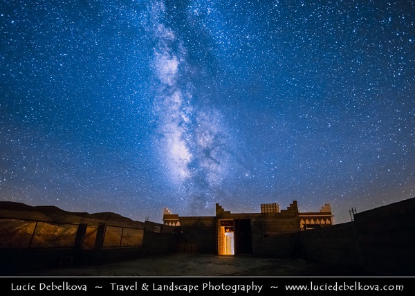Northern Africa - Kingdom of Morocco - High Atlas Mountains - Telouet - Trading village along former caravan route from Sahara over Atlas Mountains to Marrakech at elevation of 1,800 metres (5,900 ft) - Starry Night Sky with Milky Way