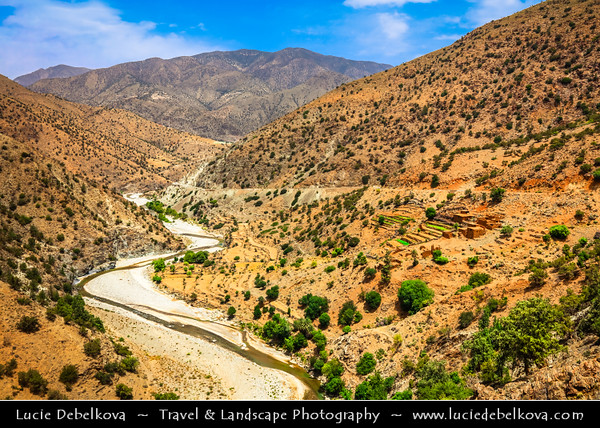 Northern Africa - Kingdom of Morocco - High Atlas Mountains -Toubkal National Park - Spectacular mountain landscape with picturesque backdrops