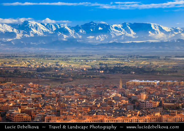 Northern Africa - Kingdom of Morocco - Marrakesh - Marrakech - Aerial View of High Atlas Mountains - Mountain range in central Morocco