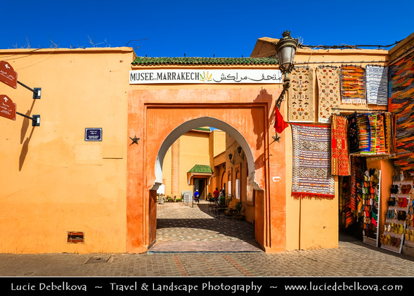 Northern Africa - Kingdom of Morocco - Marrakesh - Marrakech - UNESCO World Heritage Site - Old Town - Medina of Marrakesh - Historical center - Musee de Marrakech - Museum of Marrakech housed in Dar Menebhi Palace built at the end of the 19th century by Mehdi Menebhi