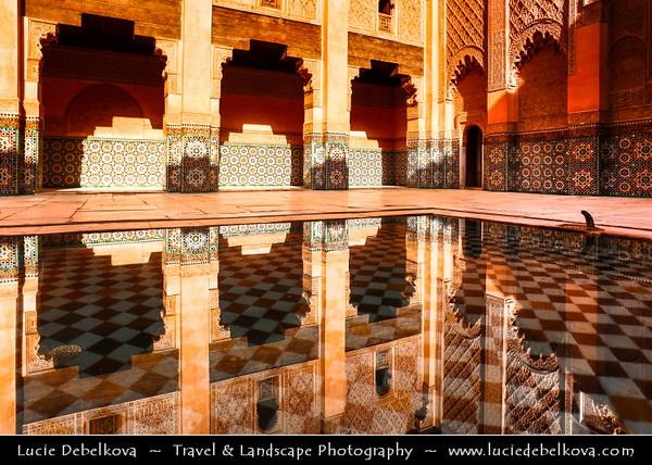 Northern Africa - Kingdom of Morocco - Marrakesh - Marrakech - UNESCO World Heritage Site - Old Town - Medina of Marrakesh - Historical center - Medersa Ben Youssef - Medrassa Bin Yousuf - Ben Youssef Madrasa - Ibn Yusuf Madrasa - Islamic college in Marrakech and was named after the amoravid sultan Ali ibn Yusuf