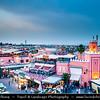 Northern Africa - Kingdom of Morocco - Marrakesh - Marrakech - UNESCO World Heritage Site - Old Town - Medina of Marrakesh - Jamaa el Fna - ساحة جامع الفناء - Jemaa el-Fnaa - Djema el-Fna - Djemaa el-Fnaa - One of main cultural spaces & one of the symbols of the city - Square & market - Souk - Traditional North African market
