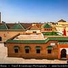 Northern Africa - Kingdom of Morocco - Marrakesh - Marrakech - UNESCO World Heritage Site - Old Town - Medina of Marrakesh - Historical center - Ben Youssef Mosque next to Medersa Ben Youssef - Mosque Bin Yousuf - Ben Youssef Mosque - Ibn Yusuf Mosque