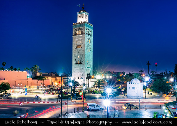 Northern Africa - Kingdom of Morocco - Marrakesh - Marrakech - UNESCO World Heritage Site - Old Town - Medina of Marrakesh - Historical center - Mosquée de la Koutoubia - Koutoubia Mosque - Kutubiyya Mosque - Jami' al-Kutubiyah - Kotoubia Mosque - Kutubiya Mosque - Kutubiyyin Mosque - Mosque of the Booksellers - Largest mosque in Marrakesh - Iconic Landmark