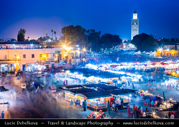 Northern Africa - Kingdom of Morocco - Marrakesh - Marrakech - UNESCO World Heritage Site - Old Town - Medina of Marrakesh - Jamaa el Fna - ساحة جامع الفناء - Jemaa el-Fnaa - Djema el-Fna - Djemaa el-Fnaa - One of main cultural spaces & one of the symbols of city - Square & market - Souk - Traditional North African market