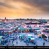 Northern Africa - Kingdom of Morocco - Marrakesh - Marrakech - UNESCO World Heritage Site - Old Town - Medina of Marrakesh - Jamaa el Fna - ساحة جامع الفناء - Jemaa el-Fnaa - Djema el-Fna - Djemaa el-Fnaa - One of main cultural spaces & one of the symbols of the city - Square & market - Souk - Traditional North African market