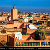 Northern Africa - Kingdom of Morocco - Marrakesh - Marrakech - UNESCO World Heritage Site - Old Town - Medina of Marrakesh - Rooftops of historical center with Minaret of Traditional Mosque