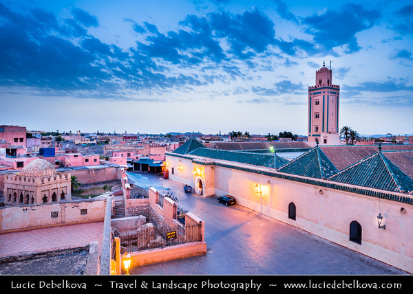 Northern Africa - Kingdom of Morocco - Marrakesh - Marrakech - UNESCO World Heritage Site - Old Town - Medina of Marrakesh - Historical center - Ben Youssef Mosque next to Medersa Ben Youssef - Mosque Bin Yousuf - Ben Youssef Mosque - Ibn Yusuf Mosque