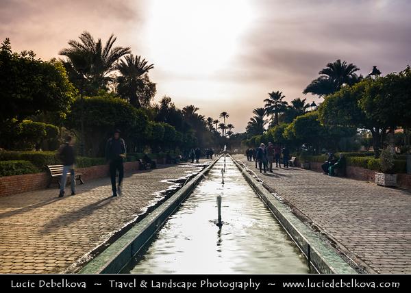 Africa - Morocco - Marrakesh - Marrakech - UNESCO World Heritage Site - Old Town - Medina of Marrakesh - Historical center - Lalla Hasna Park with fountains