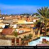 Northern Africa - Kingdom of Morocco - Marrakesh - Marrakech - UNESCO World Heritage Site - Old Town - Medina of Marrakesh - Rooftops of historical center with Minaret of Mosquée de la Koutoubia - Koutoubia Mosque - Kutubiyya Mosque - Jami' al-Kutubiyah - Kotoubia Mosque - Kutubiya Mosque - Kutubiyyin Mosque
