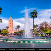 Africa - Morocco - Marrakesh - Marrakech - UNESCO World Heritage Site - Old Town - Medina of Marrakesh - Historical center - Lalla Hasna Park with fountains around Mosquée de la Koutoubia - Koutoubia Mosque - Kutubiyya Mosque - Jami' al-Kutubiyah - Kotoubia Mosque - Kutubiya Mosque - Kutubiyyin Mosque - Mosque of the Booksellers - Largest mosque in Marrakesh