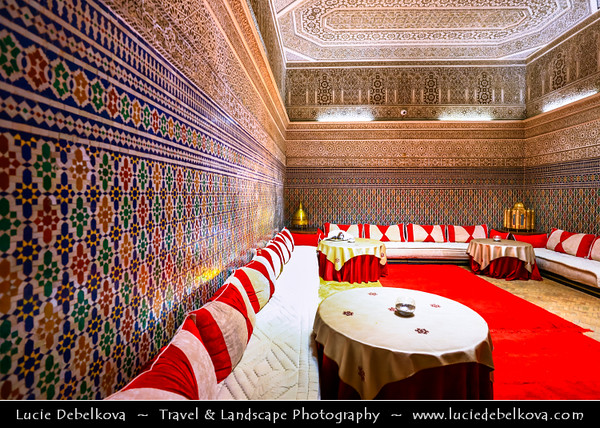 Northern Africa - Kingdom of Morocco - Marrakesh - Marrakech - UNESCO World Heritage Site - Old Town - Medina of Marrakesh - Historical center - Traditional riad accomodation with stunning iconic Moroccan interior