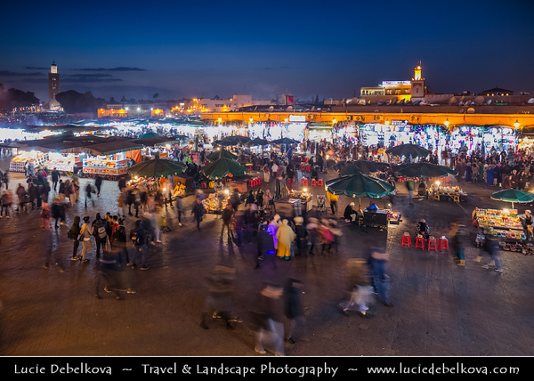 Africa - Morocco - Marrakesh - Marrakech - UNESCO World Heritage Site - Old Town - Medina of Marrakesh - Jamaa el Fna - ساحة جامع الفناء - Jemaa el-Fnaa - Djema el-Fna - Djemaa el-Fnaa - One of main cultural spaces & one of the symbols of the city - Square & market - Souk - Traditional North African market