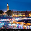 Northern Africa - Kingdom of Morocco - Marrakesh - Marrakech - UNESCO World Heritage Site - Old Town - Medina of Marrakesh - Jamaa el Fna - ساحة جامع الفناء - Jemaa el-Fnaa - Djema el-Fna - Djemaa el-Fnaa - One of main cultural spaces & one of the symbols of city - Square & market - Souk - Traditional North African market