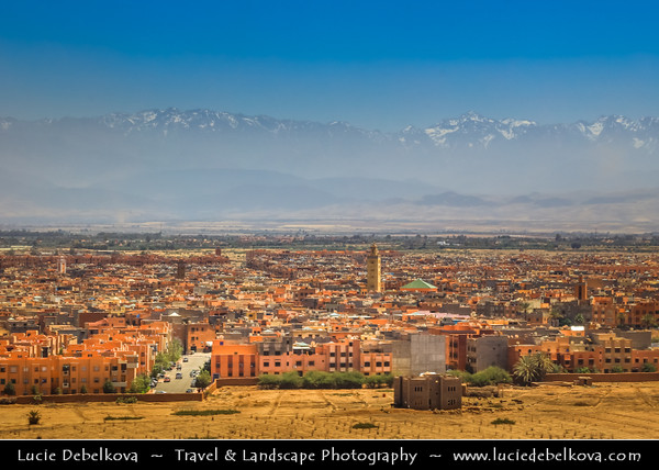 Northern Africa - Kingdom of Morocco - Marrakesh - Marrakech - Aerial View with Atlas mountains in background