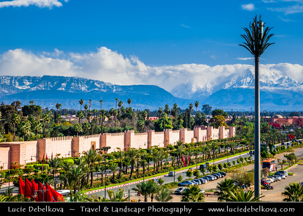Africa - Morocco - Marrakesh - Marrakech - UNESCO World Heritage Site - Old Town - Medina of Marrakesh - Historical center - Historical City Walls & snowy peaks of High Atlas mountains