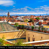 Northern Africa - Kingdom of Morocco - Marrakesh - Marrakech - UNESCO World Heritage Site - Old Town - Medina of Marrakesh - Rooftops of historical center with snowy Atlas Mountains in backround