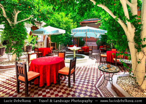 Northern Africa - Kingdom of Morocco - Marrakesh - Marrakech - UNESCO World Heritage Site - Old Town - Medina of Marrakesh - Historical center - Traditional restaurant with stunning iconic Moroccan interior