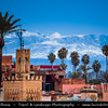 Africa - Morocco - Marrakesh - Marrakech - UNESCO World Heritage Site - Old Town - Medina of Marrakesh - Historical center &  snowy peaks of High Atlas mountains