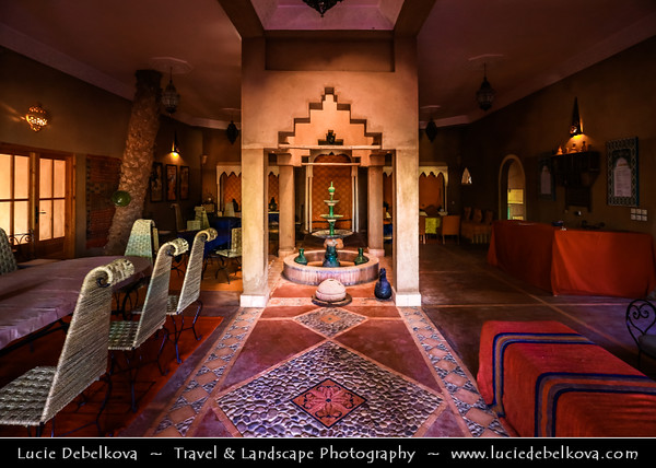 Northern Africa - Kingdom of Morocco - Sahara Desert - Zagora Province - M'Hamid El Ghizlane - Oulad Edriss - Ouled Idriss - Historical oasis town with traditional antique Kasbah, Ksar & Palmeraie - Classic Moroccan interior