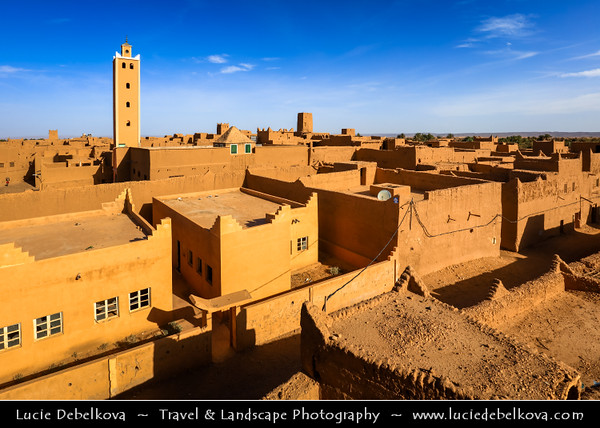 Northern Africa - Kingdom of Morocco - Sahara Desert - Zagora Province - M'Hamid El Ghizlane - Oulad Edriss - Ouled Idriss - Historical oasis town with traditional antique Kasbah, Ksar & Palmeraie
