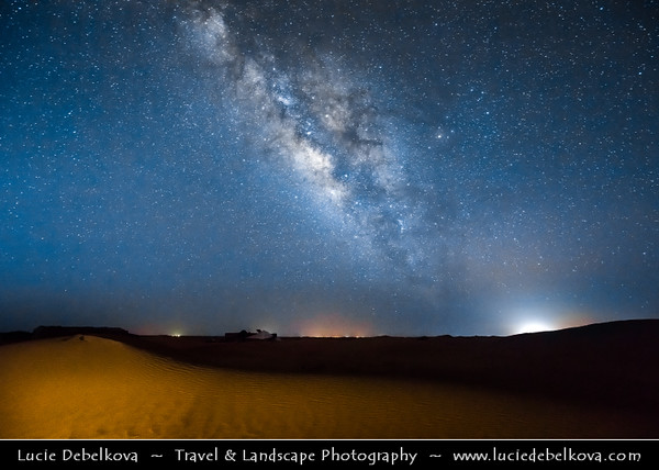 Northern Africa - Kingdom of Morocco - Sahara Desert - Zagora Province - M'Hamid El Ghizlane - Erg Lehoudi - Er Lihoudi - Classic desert landscape with constantly changing sand dunes, lines and shapes - Large sea of dunes formed by wind-blown sand - Night sky full of stars with Milky way