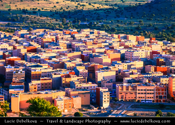 Africa - Morocco - Souss-Massa Region - Chtouka Aït Baha Province - Ait Baha - Town with red houses in Anti Atlas hilly landscape