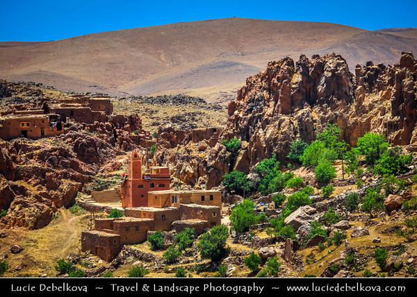 Northern Africa - Kingdom of Morocco - Souss-Massa Region - Chtouka Aït Baha Province - Spectacular mountain road in Anti-Atlas (Lesser Atlas, Little Atlas) - Desolate world of rocky outcrops and lunar landscape with traditional villages and agadirs