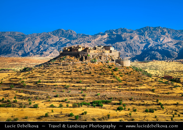 Northern Africa - Kingdom of Morocco - Souss-Massa Region - Chtouka Aït Baha Province - Tizourgane Kasbah in stunning Anti-Atlas ( Lesser Atlas, Little Atlas) hilly landscape