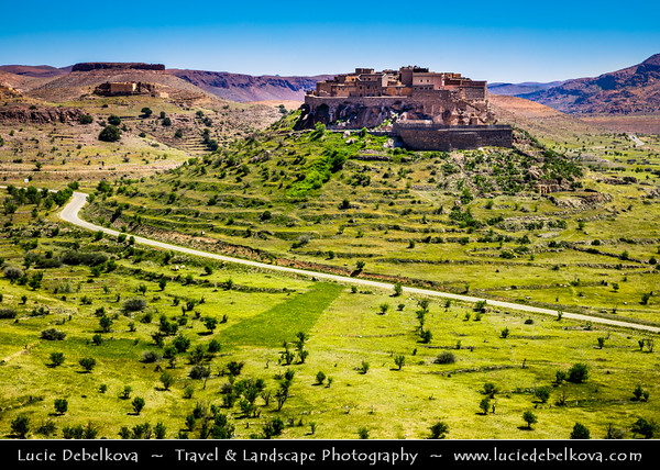 Northern Africa - Kingdom of Morocco - Souss-Massa Region - Chtouka Aït Baha Province - Tizourgane Kasbah in stunning Anti-Atlas ( Lesser Atlas, Little Atlas) hilly landscape